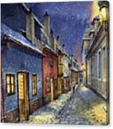 Prague Golden Line Winter Canvas Print