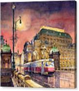 Prague  Night Tram National Theatre Canvas Print