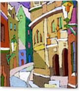 Prague Old Street Karlova Winter Canvas Print