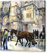 Prague Old Town Square Astronomical Clock Or Prague Orloj  Canvas Print