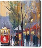 Prague Old Tram Vaclavske Square Canvas Print