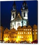 Prague Tower At Night Canvas Print