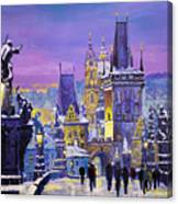 Prague Winter Charles Bridge 3 Canvas Print