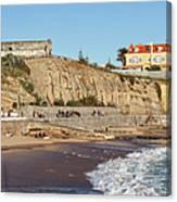 Praia Da Poca Beach In Estoril Portugal Canvas Print