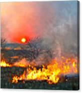 Prairie Burn Sunset In Kansas Canvas Print