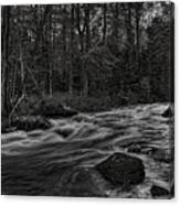 Prairie River Whitewater Black And White Canvas Print