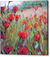 Praising Poppies With Bible Verse Canvas Print