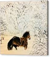 Prancing Through The Snow Canvas Print