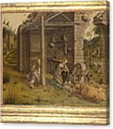 Predella Of La Madonna Della Rondine Canvas Print