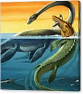 Prehistoric Creatures In The Ocean Canvas Print