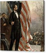 President Abraham Lincoln - American Flag Canvas Print