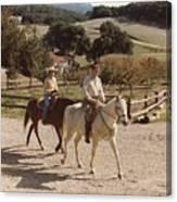 President And Nancy Reagan Horseback Canvas Print
