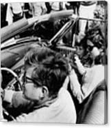 President Kennedy Drives An Open Car Canvas Print