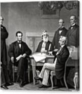 President Lincoln And His Cabinet Canvas Print