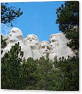 Presidents Of Mount Rushmore Framed By South Dakota Forest Trees Canvas Print