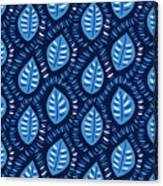 Pretty Decorative Blue Leaves Pattern Canvas Print