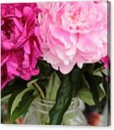 Pretty Pink Peonies In Ball Jar Vase Canvas Print