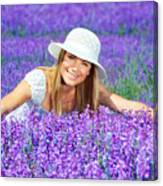Pretty Woman On Lavender Field Canvas Print