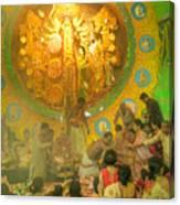 Priest Distributing Flowers For Praying To Goddess Durga Durga Puja Festival Kolkata India Canvas Print