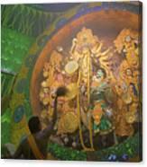 Priest Praying To Goddess Durga Durga Puja Festival Kolkata India Canvas Print