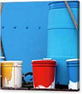 Primary Colors - Paint Buckets On A Ship Canvas Print