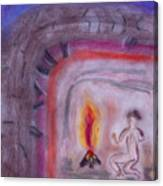 Primitive Man Fireside Canvas Print