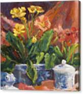 Primroses And Blue China Canvas Print