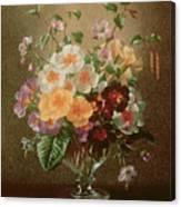 Primulas In A Glass Vase  Canvas Print