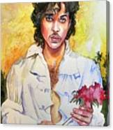 Prince Rogers Nelson Holding A Rose Canvas Print