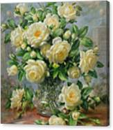 Princess Diana Roses In A Cut Glass Vase Canvas Print