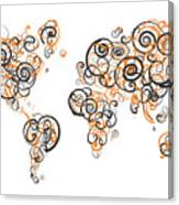 Princeton University Colors Swirl Map Of The World Atlas Canvas Print