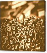 Print Industry Typographic Letters And Numbers Canvas Print