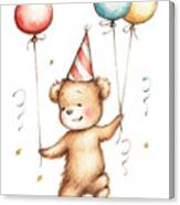 Print Of Teddy Bear With Balloons Canvas Print