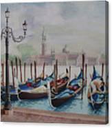 Parking Gondolas In Venice Canvas Print