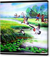 Artistic Painting Photo Flying Bird Handmade Painted Village Art Photo Canvas Print