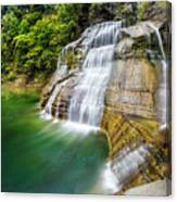 Profile Of The Lower Falls At Enfield Glen Canvas Print