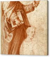 Profile Study Of A Standing Saint Holding A Book With Subsidiary Studies Of Three Additional Figures Canvas Print