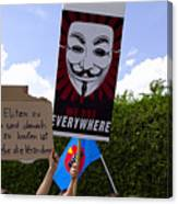Protesters With An Anonymous Mask Canvas Print