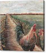 Provence Roosters Canvas Print