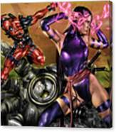 Psylocke And Deadpool Canvas Print