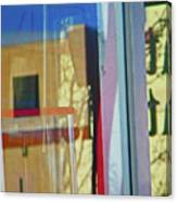 Pueblo Downtown Reflection With Flag Canvas Print