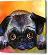 Pug Dog Portrait Painting Canvas Print