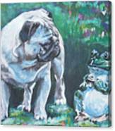 Pug Fawn With Frog Canvas Print