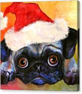 Pug Santa Portrait Canvas Print