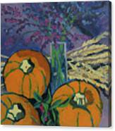 Pumpkins And Wheat Canvas Print