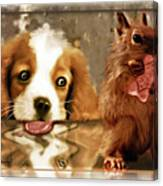 Pup And Squirrel Canvas Print