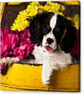Puppy In Yellow Bucket  Canvas Print