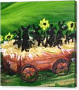 Pups First Hayride Upclose Canvas Print