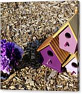 Purple Birdhouses 2 Canvas Print