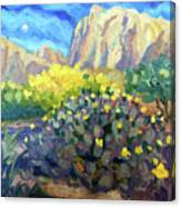 Purple Cactus With Yellow Flower Canvas Print